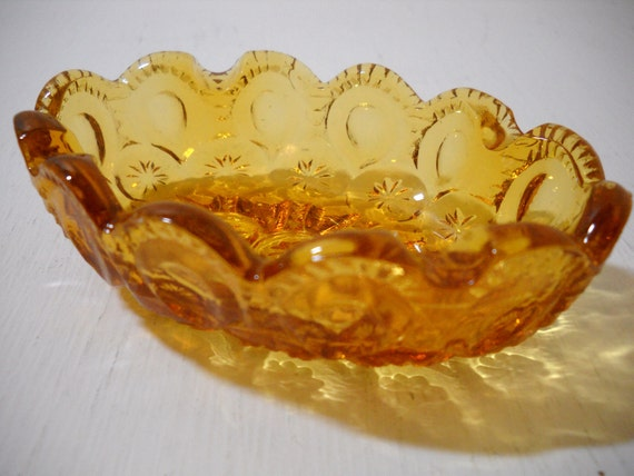 Amber Moon and Stars Glass Small Candy or Nut Dish