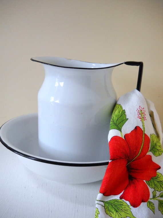 White Enamelware Wash Basin Pitcher and Bowl