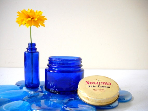 Cobalt Blue Glass Bottle and Jar Small Vases and Recycle Opportunities
