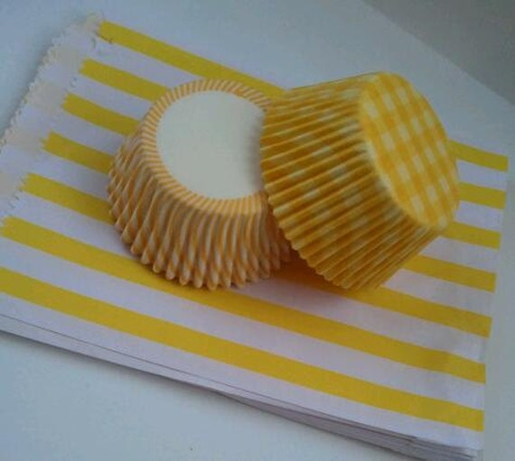 Yellow Stripe Paper Bags and Cupcake Liner Kit