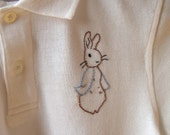 Hand Embroidered Peter Rabbit Easter Polo Shirt, FREE Shipping