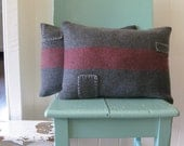 cushion patched wool blanket grey red stripe - SAMPLE PAIR
