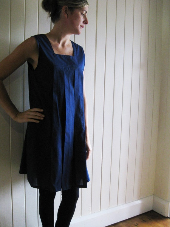 SALE tunic dress navy blue polka dot detail - small medium
