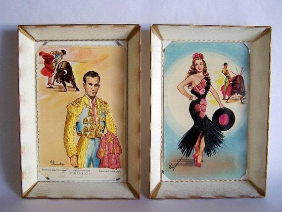 Four Embroidered Postcards from Spain with Plastic Frames