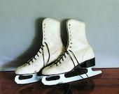 Vintage Ice Skates, white womens skates for winter decoration