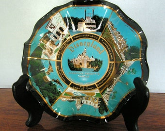 Vintage Disneyland Glass Plate, Souvenir, Ashtray