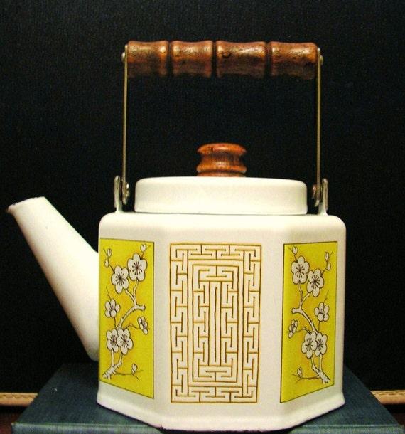 Vintage M Kamenstein Yellow Japanese Teapot Tea Kettle