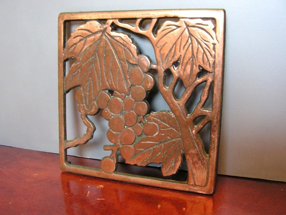 Copper Trivet, Grape Vine Pattern, pot holder, coaster, kitchen decor