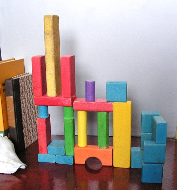 Vintage Colorful Wood Blocks