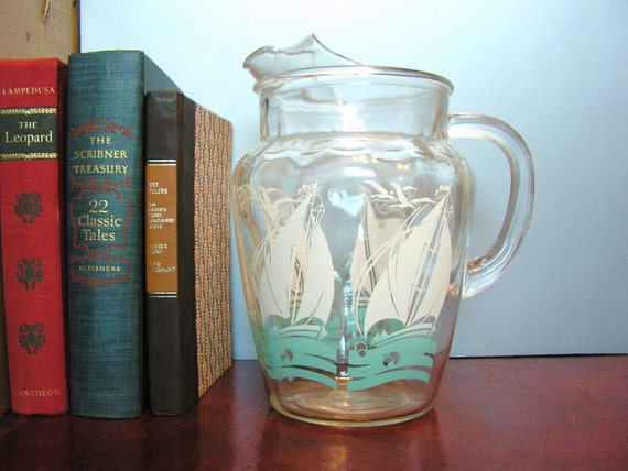 Vintage Glass Drink Pitcher Nautical Sailboats By Hurstdesigns