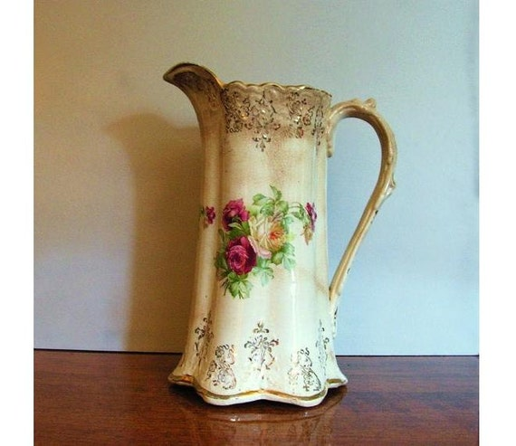 Antique Floral Pitcher Or Vase Wellsville China Company