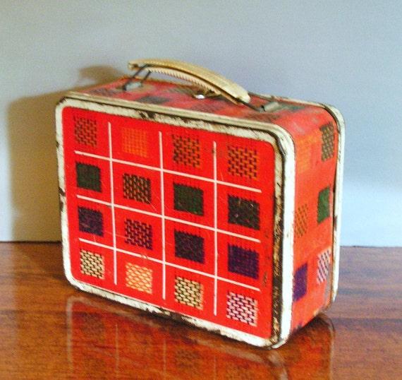 Vintage Lunch Box, Metal red plaid, Ohio Art
