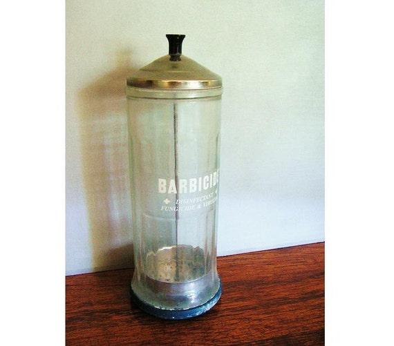 Vintage Barber Shop Glass Container, Barbicide, curiosity