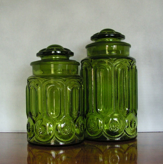 vintage glass canisters kitchen vintage green glass jars kitchen cannisters 22581