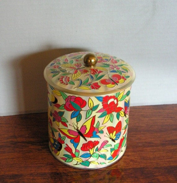Vintage Butterfly Tin by Daher England Overlay Pattern