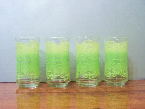 Vintage Glass Cups, green and yellow leaf pattern