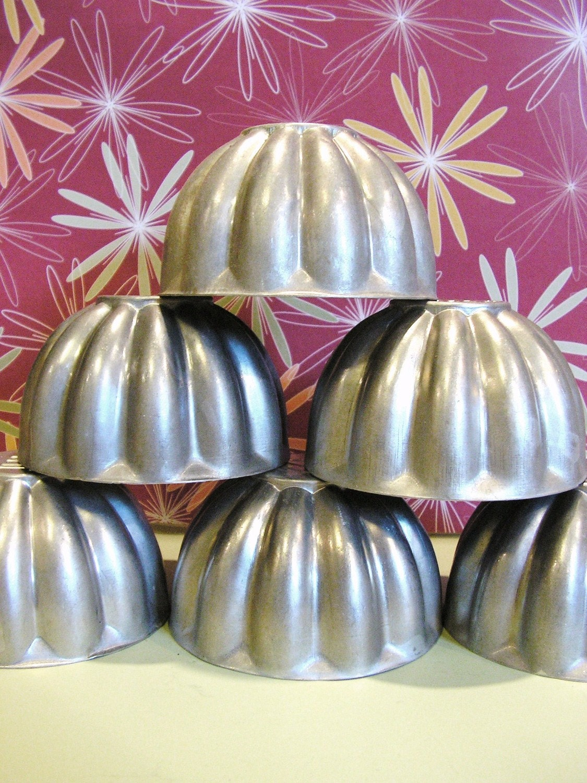 Vintage Jello Tin Molds 7 Metal Organizing Cups