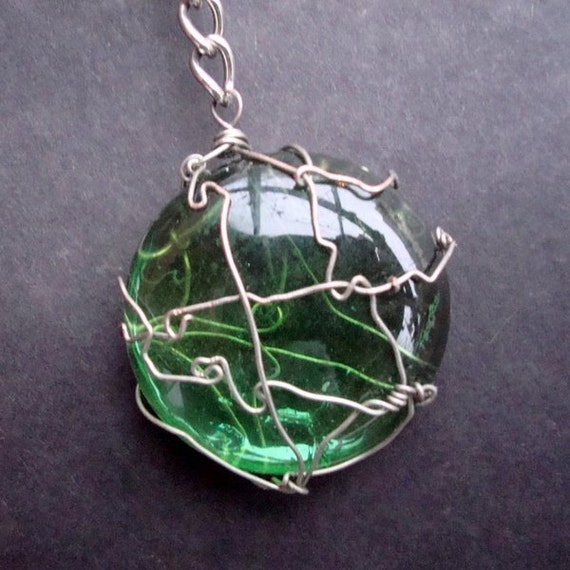 Convolutions in Green Wire and Glass Keychain