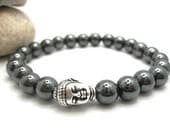 Mens Hematite Buddha  Energy Bracelet with Pouch