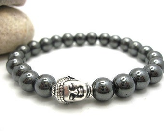 Mens Hematite Buddha Energy Bracelet with Pouch, Mens, Spiritual, Meditation,