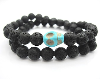 Mens Lava Rock and Turquoise Skull Energy Bracelet