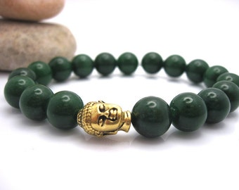 Green Jade  Buddha Energy Bracelet with Pouch