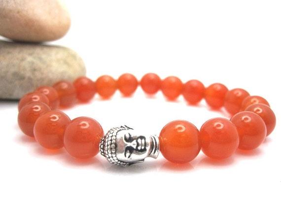 Carnelian Buddha Energy Bracelet with Pouch, Buddha, Meditation, Jewelry, Orange, Sacral Chakra