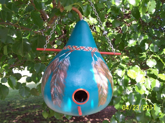 Deep Teal and Feathers  Gourd Birdhouse