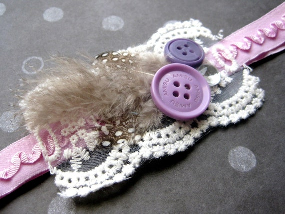 little girls vintage lilac ruffled elastic headband