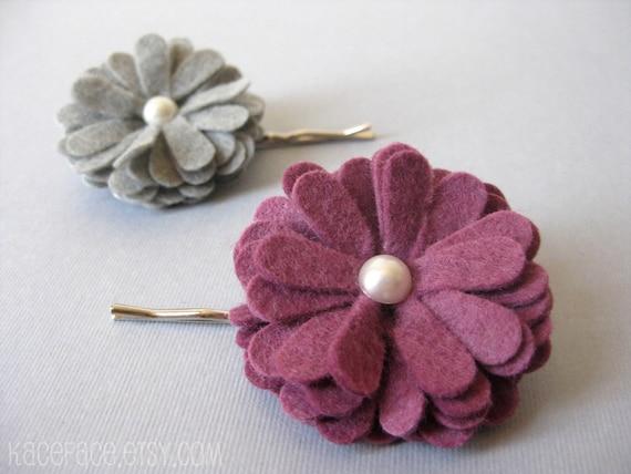 Felt Flower Bobby Pins - Gray / Orchid - Set of 2