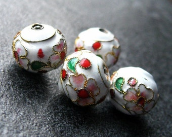 Four (4) Round White Cloisonne Floral Beads