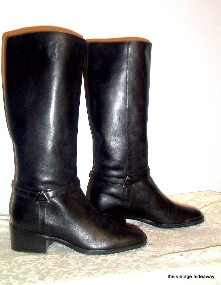 vintage black amanda smith boots womens leather boots