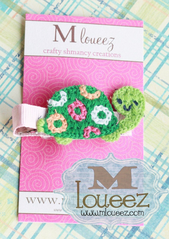 Crocheted Green and Pink Turtle Hair Clip