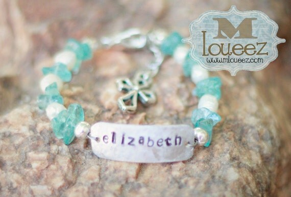 Blue Apatite and Fresh Water Pearl Baptism Bracelet with Cross Charm and Hand Stamped Nameplate