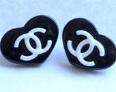 SALE  Chanel Inspired Earrings - Black & White CC Logo Heart