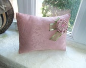 Lavender Filled Accent Throw Pillow Aromatherapy - Mauve/Pink - Brocade - Made to Order