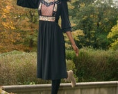 RESERVED Black Floral Patchwork Dress