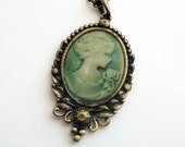 Cameo Necklace - Green - Antiqued Gold - Claire