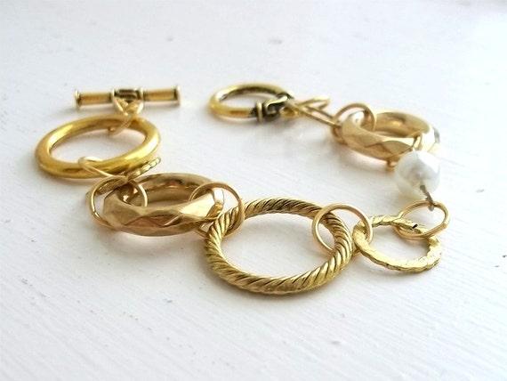 Gold Link Bracelet With Pearl - Serena