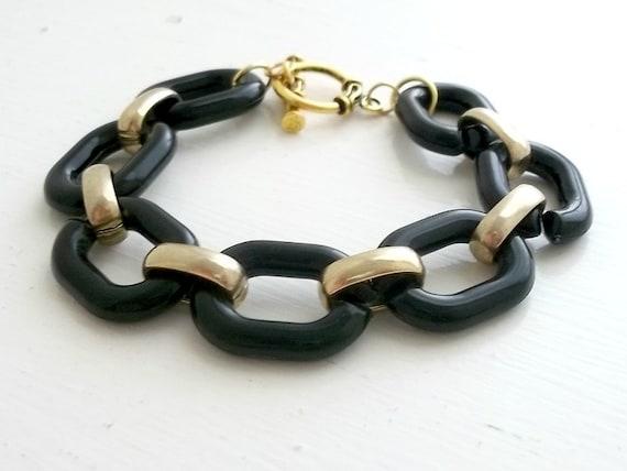 Black Plastic Link Bracelet - Stacking - Upcycled Vintage - Dana