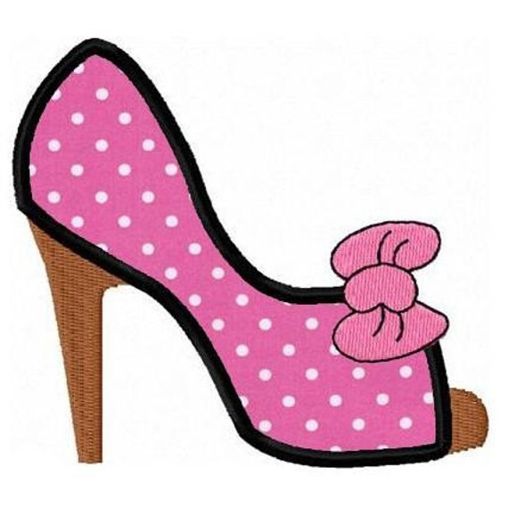 Fashion high heel shoe applique machine embroidery design