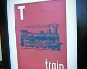 Instant Download: Digital 8x10 nursery print T is for Train Vintage Transportation Print