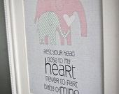 Instant Download: Digital 8x10 nursery print baby mine elephants in pinks