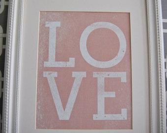 Instant Download: Digital 8x10 nursery print LOVE in pink, blue, or green