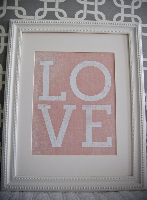 Instant Download: Digital 8x10 nursery print LOVE in pink, blue, or green