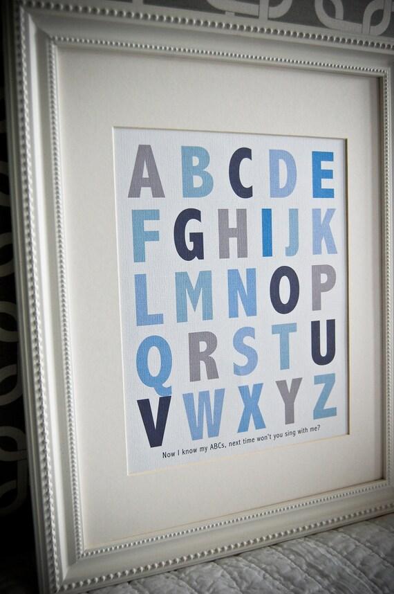 Instant Download: Digital 8x10 nursery print ABCs blue alphabet