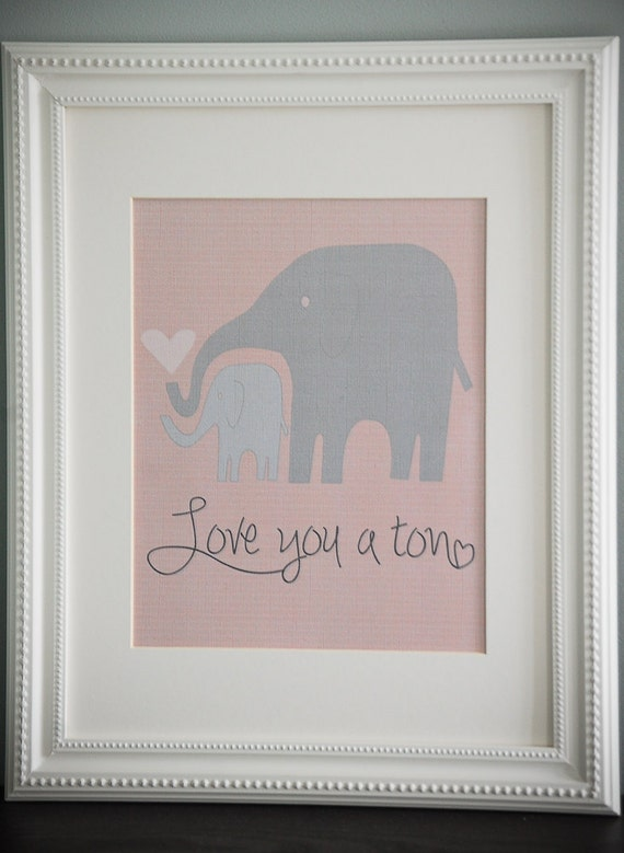 Instant Download: Digital 8x10 nursery print love you a ton elephants pink