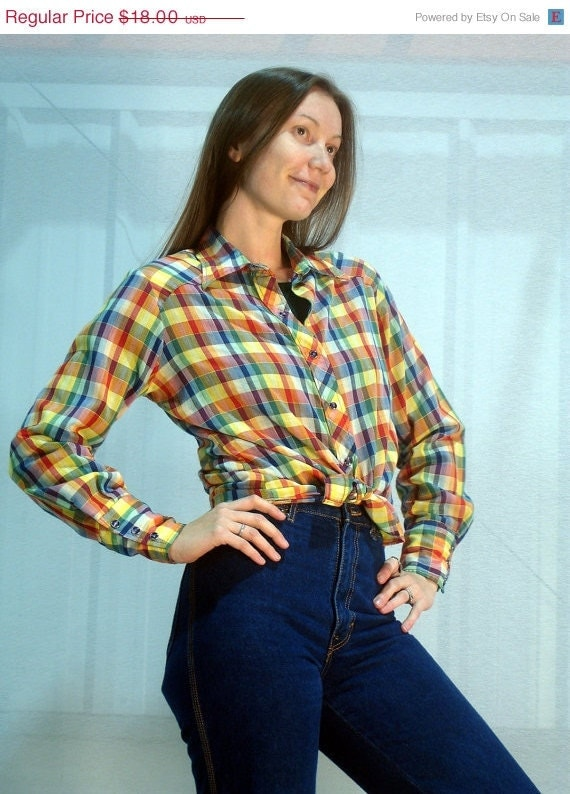 FINAL SALE 1970s Plaid Western Shirt Fall Colors Pearl Snap Up Cowgirl Top Fall Fashion Country Prairie Blouse Long Sleeve ... M L Medium L