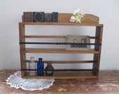Vintage Wooden Curio Shelf or Spice Rack, Rustic Farmhouse Decor