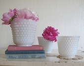 Trio of Milk Glass Planters, Hobnail, Cottage Chic Home Decor